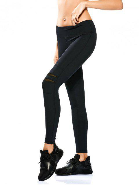 ladies Mesh Panel Stretchy Yoga Leggings - BLACK L Mobile