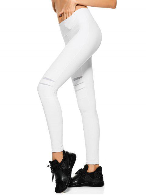 online Mesh Panel Stretchy Yoga Leggings - WHITE L Mobile