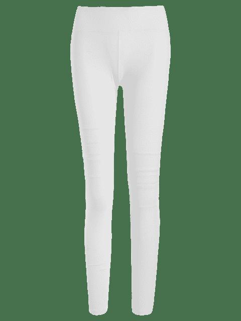 new Mesh Panel Stretchy Yoga Leggings - WHITE M Mobile