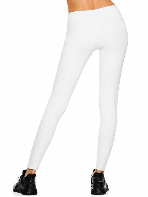 hot Mesh Panel Stretchy Yoga Leggings - WHITE S Mobile