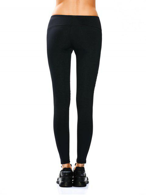 latest Mesh Panel Stretchy Yoga Leggings - BLACK XL Mobile