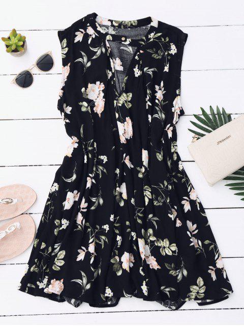 Tunika-Kleid mit Schlüsselloch und Blumenmuster - Schwarz L Mobile