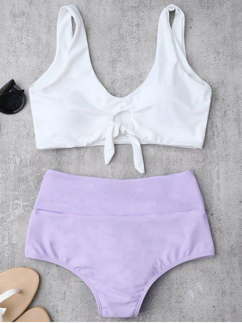 unique Knotted High Waisted Ruched Bikini Set - PURPLE XL Mobile