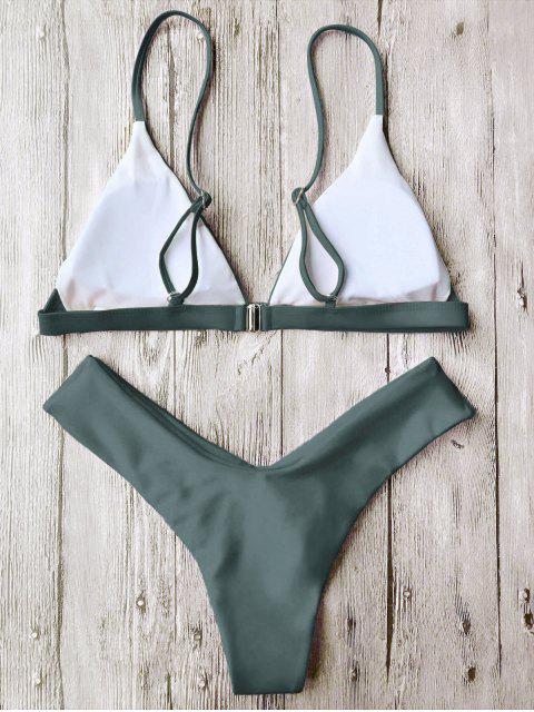 ladies Soft Pad Spaghetti Straps Thong Bikini Set - GREEN L Mobile