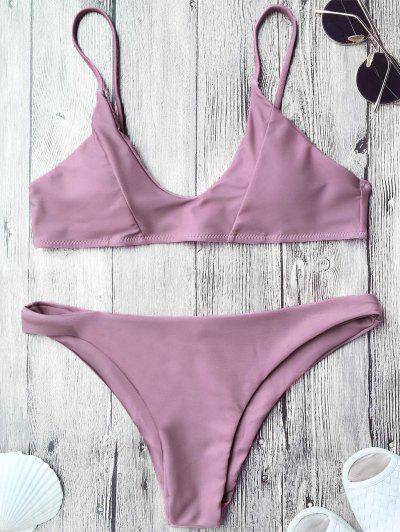 Padded Spaghetti Straps Bikini Set - Pinkish Purple M