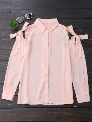 Button Up Knot Cold Shoulder Chiffon Blouse - Pinkbeige S