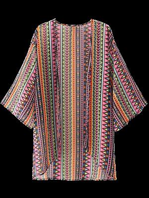 Geométrica Blusa Delantera De Kimono - L