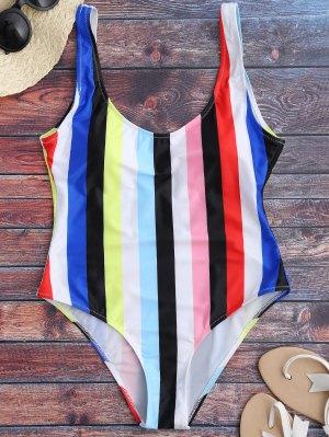 Rainbow Stripes One Piece Swimsuit - Multicolor M