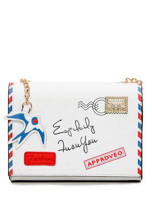 Envelope Print Chain Crossbody Bag - White