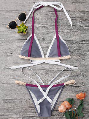 Traje De Bikini De Vendaje Con Relleno De Halter - Gris - Gris M