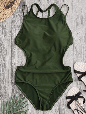 Padded Back Strappy Swimwear - Army Green L