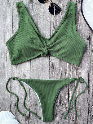Ribbed Knotted String Bralette Bikini - Army Green L