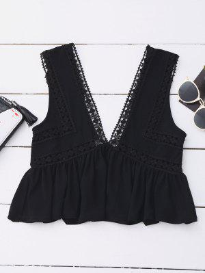 Ruffles Lace Trim Cropped Tank Top