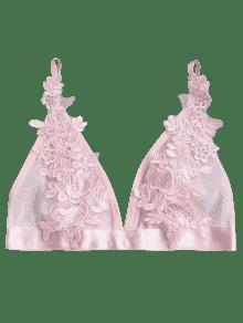 3ff655e0d430c Applique Sheer Mesh Plunge Bralette Top PINK  Intimates L