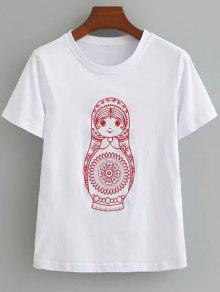 T-shirt Brodé En Coton Mignon - Blanc S