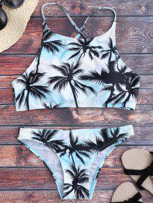 Traje De Bikini Con Estampado De Palma Con Cuello Alto - Multicolor L