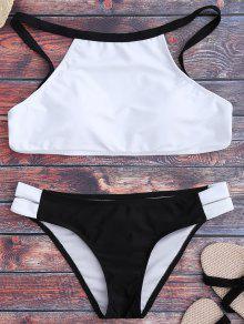 Dos Tonos De Cuello Alto Conjunto De Bikini - Blanco Y Negro L