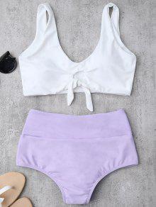 Knotted High Waisted Ruched Bikini Set - Purple Xl