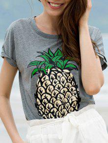 Fruit Print Round Neck Short Sleeve T-Shirt - Gray M