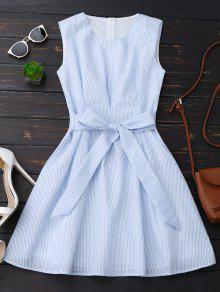 فستان بلا أكمام مخطط بونوت - الشريط الأزرق L