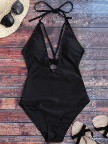 Open Back Plunge One Piece Swimwear - Black M