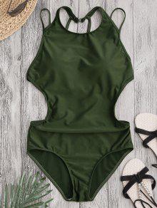 مبطن الظهر سترابي ملابس السباحة - الجيش الأخضر L