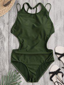Padded Back Strappy Swimwear - Army Green S
