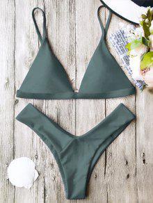 Soft Pad Spaghetti Straps Thong Bikini Set - Green S