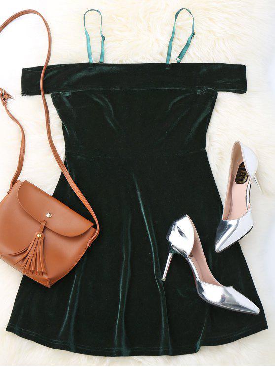 online Slip Cold Shoulder Velvet Dress - BLACKISH GREEN S