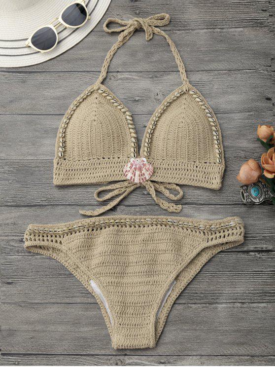 Halter conjunto de bikini ganchillo de concha - Caqui S