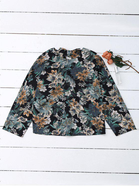 fancy Back Bow Tie Floral Top - FLORAL L
