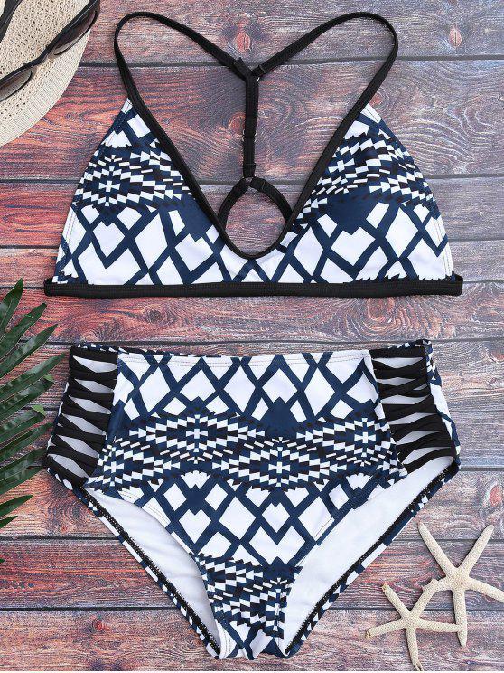 Conjunto de bikini de alta cintura Geo Print - Azul y Blanco S