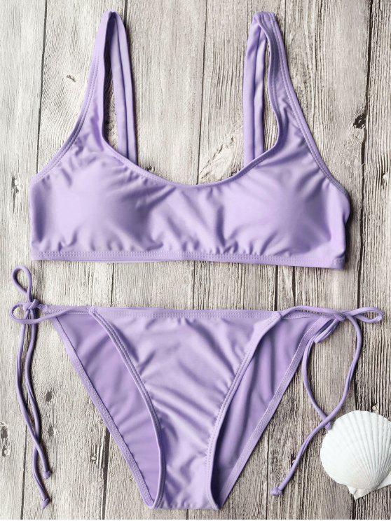 Conjunto de bikini de cuello redondo - Púrpura L