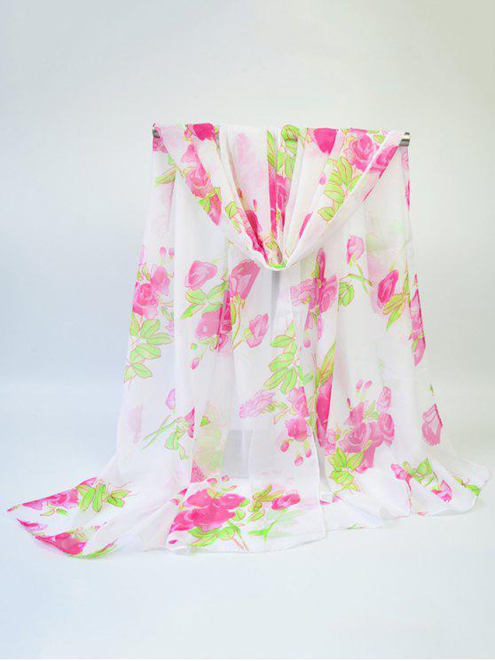 Blooming Rose impreso gasa fina gasa bufanda - Rosa Roja