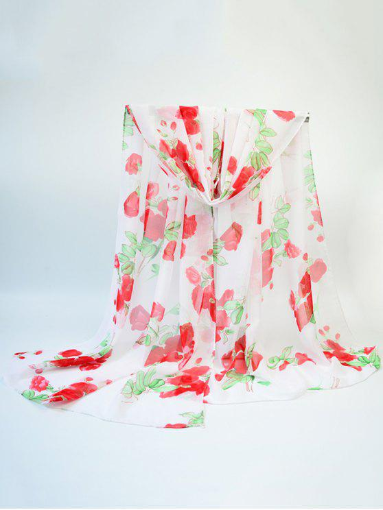 Écharpe en écharpe en émeraude à fleurs florales Rose - Rouge