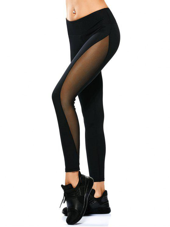 women Mesh Panel See Thru Yoga Leggings - BLACK XL