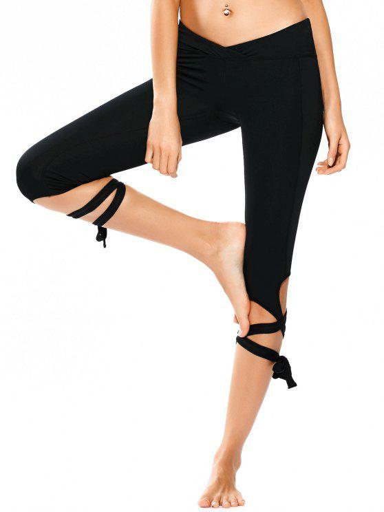 hot Skinny Wrap Hem Yoga Capri Leggings - BLACK S