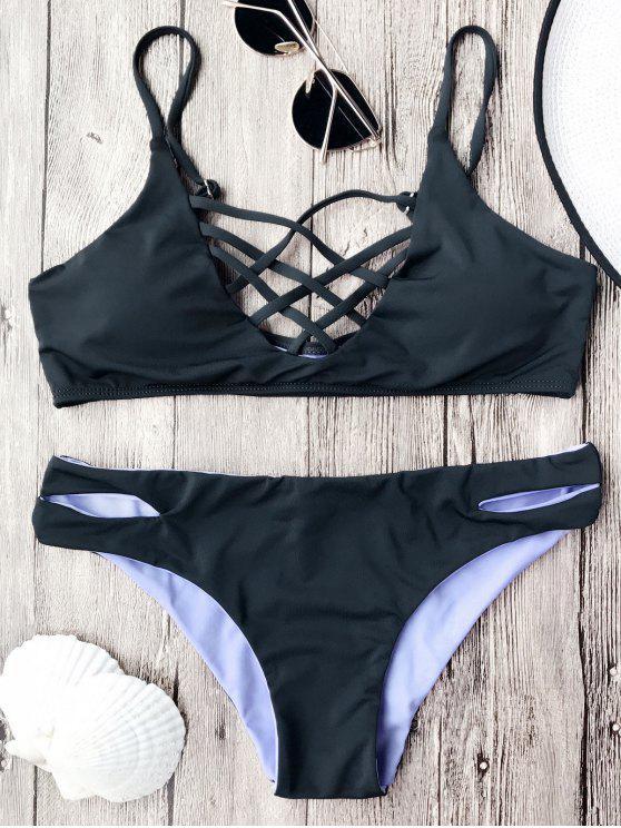 Ensemble de bikini à bretelle avec treillis avant sans armature - Noir M