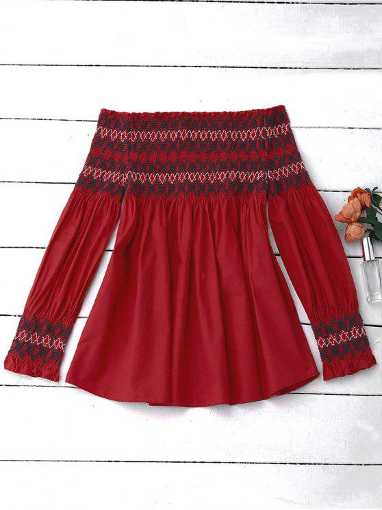 women Off Shoulder Geometric Smocked Blouse - RED L