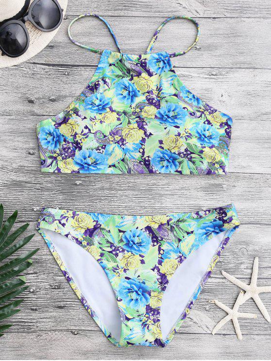 Conjunto de bikini Paisley floral de cuello alto - Floral L