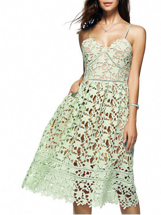 Robe mi-longue en crochet floral à bretelles spaghettis - LIGHT GREEN L