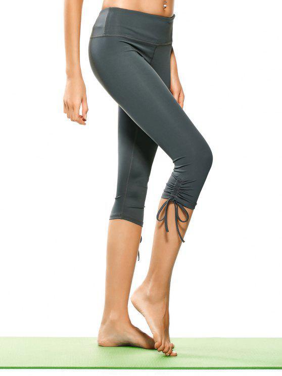 women Drawstring Hem Capri Yoga Pants - GRAY M
