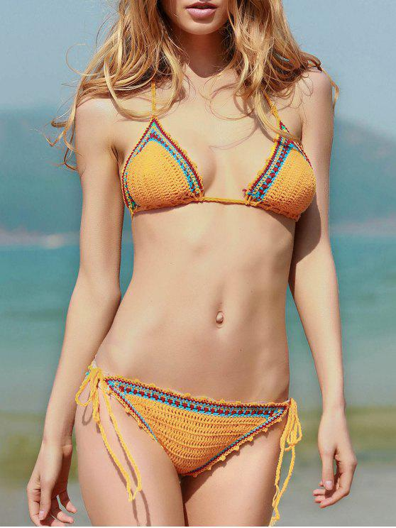 sale Spaghetti Strap Lace Up Crochet Bathing Suit - YELLOW S