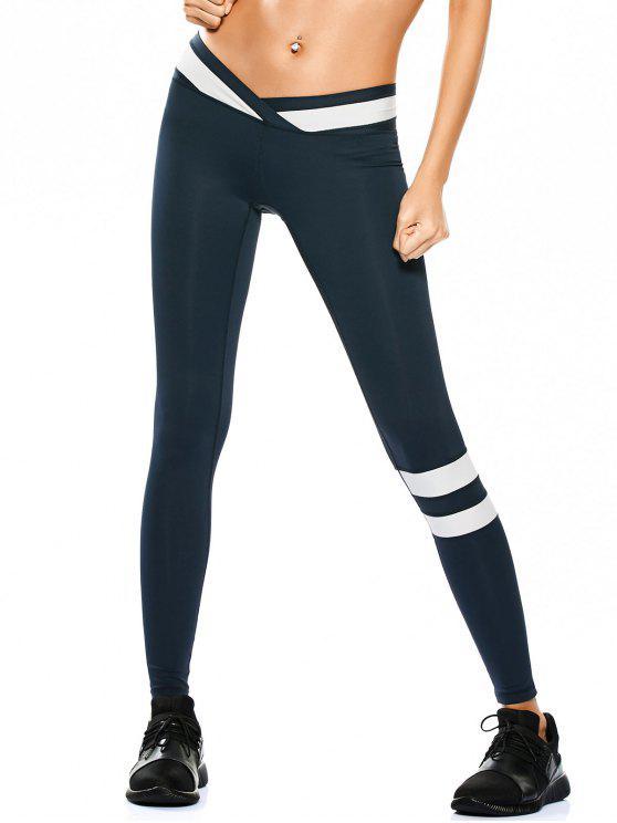 Sportkleidung zwei Farben Yoga Leggings - Cadetblue XL