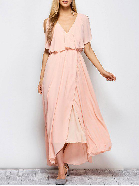 women Ruffles Plunge Neck Popover Maxi Dress - PINK M
