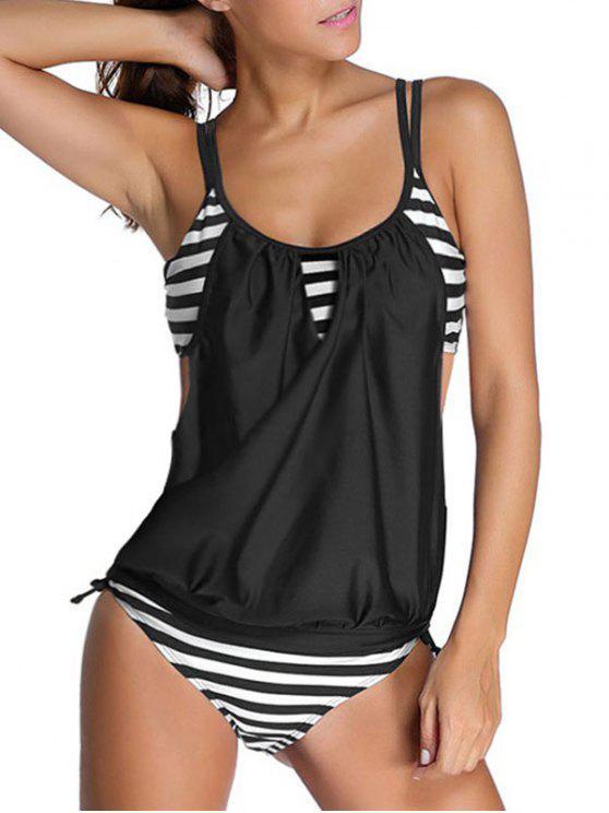 shops Striped Spaghetti Strap Blouson Tankini Bathing Suits - BLACK S