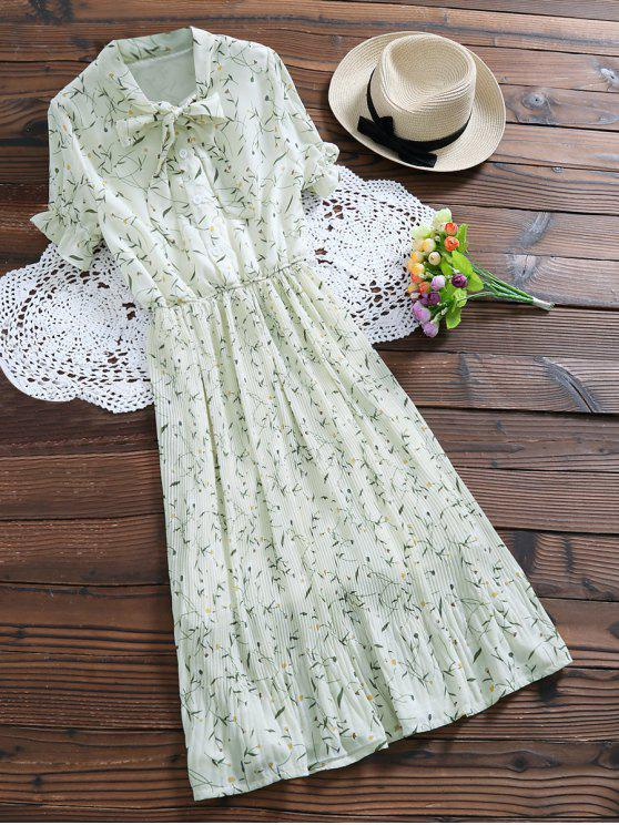 Robe plissée imprimée de motif floral avec noeud de chat au col - Blanc Cassé S
