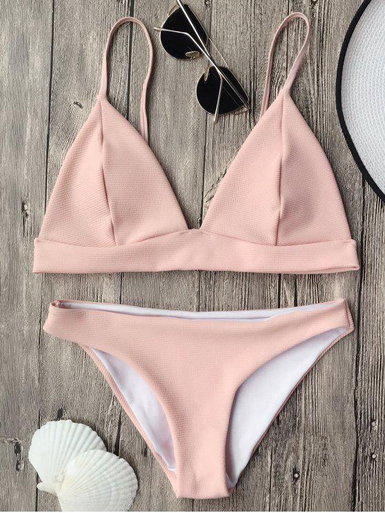 women Cami Plunge Bralette Bikini Top and Bottoms - PINK S
