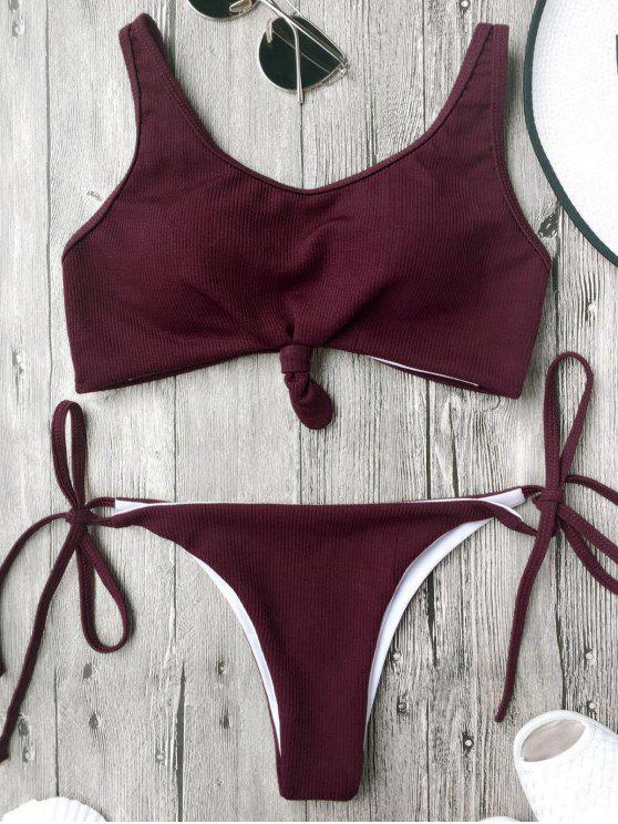 Ensemble de bikinis à bretelles spaghetti avec ficelle - Bourgogne L