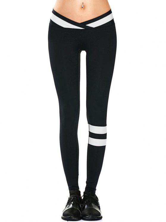 Sportkleidung zwei Farben Yoga Leggings - Schwarz L